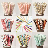 25Pcs Drink Paper Straws Striped Dot Wedding Birthday Party Supplies Decoration