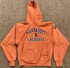 Vintage Champion Reverse Weave Manhasset Indians Lacrosse Hoodie, Medium, Orange