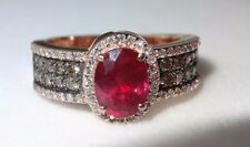 EFFY  14k Rose Gold  Ruby  Chocolate  white Diamond Ring Size 7 1/2