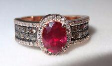 EFFY  14k Rose Gold  Ruby  Chocolate  white Diamond Ring Size 7 1/2