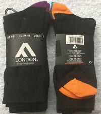 FM London Men's Smart Dress Socks Black Coloured Toe And Heel UK 6-11 6 Pairs