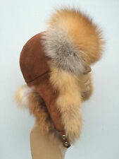 Red Fox Fur Hat Suede Top Men's Size