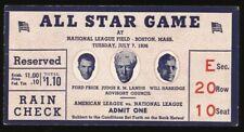 1936 ALL STAR GAME TICKET Boston BRAVES FIELD Lou Gehrig HR /Dizzy Dean Win MVP