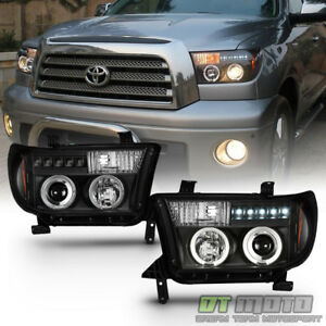 For Blk 2007-2013 Toyota Tundra 08-17 Sequoia LED DRL Projector Headlights Lamp