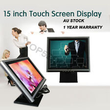 """2 pcs 15"""" LED Touch Screen USB VGA Monitor 4Wire Kiosk Restaurant Bar +POS stand"""