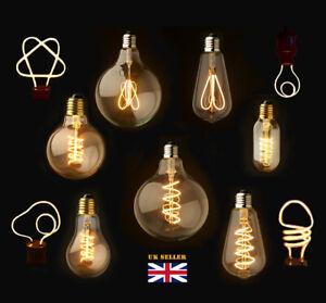 Dimmable E27/B22 Retro Vintage Flexible LED Edison Spiral Filament Light Bulb