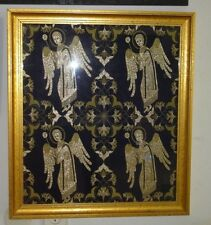 VINTAGE FOUR ANGELS GOLD THREADS FABRIC FRAMED PICTURE