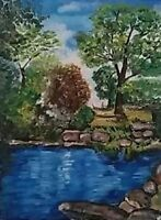 Olio su tela, quadro, quadri, paesaggio, laghetto, arte, arredo
