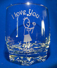 Swirl Base Glass - With I Love You Mum & a Little Boy Sand Etched on it.