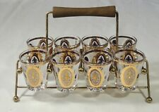 8 Piece UTD Glass Gold Pattern Shot Glasses With Caddy Excellent