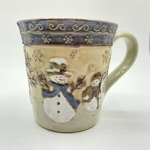 St. Nicholas Square Forest Friends 14oz Mug Cup Embossed Snowman Holiday