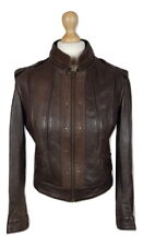Q245 Levis Ladies Brown Leather Short Biker Style Jacket, Medium