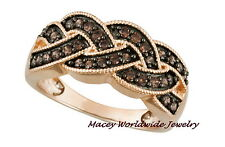 18K ROSE GOLD SILVER BRANDY DIAMONDORABLES CHOCOLATE BROWN BRAIDED RING 1.15CT