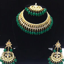 Green Kundan Necklace Earrings Tikka Asian Indian Choker Fashion Jewelry Set