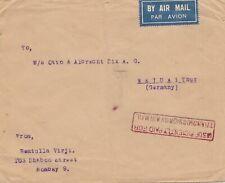 India 1933: air mail Bobmay to Weida/Thüringen UISUF paid,