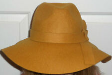 NEW Anthropologie Renee's NYC Yellow Gold Wool Felt Rancher Floppy Hat OSFA NWT