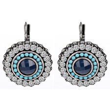 Luxury Platinum Plated Clear Austrian Crystal Blue Resin Beads Earrings Jewelry