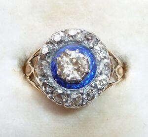 Antique Georgian Diamond Ring Royal Blue Enamel C.1780 With Windsor Leather Box