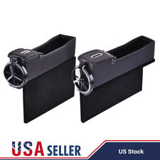 2x Car Seat Storage Box Catch Gap Filler Collector Cup Holder Driver + Passenger