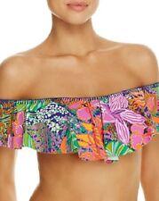 NWT Trina Turk Swimsuit Bikini Top Bra size 12 Tropical Escape Ruffle