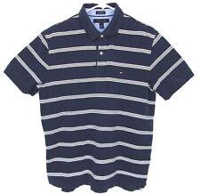 TOMMY HILFIGER Mens Cotton Polo Custom Fit Blue White Stripes Striped Size L GUC