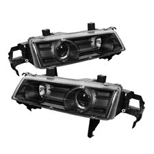 Fit Honda 92-96 Prelude Black Dual Halo Projector Headlights VTEC SI SE S 4WS