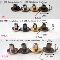 10set Flat Head Brass Solid Stud Screw Nail Rivets Leather Craft Wallet Belt XS