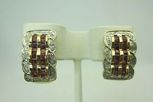 New 14K Yellow Gold Ruby and Diamond Earrings 2.60 CT TW