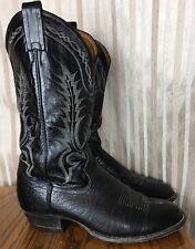 VTG Tony Lama Black Bull Hide Western Cowboy Boots Mens SZ 9.5 D USA Ships Free