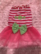 Medium Pink And Green Flower Dress Dog