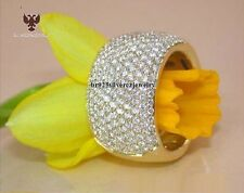 Men's 14K Yellow Gold On 925 Silver Heavy Pinky Wedding Band Diamond Ring