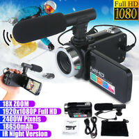 Full HD 1080P 24MP 18X Zoom 3 inch LCD Digital Camera Video Camcorder Microphone