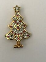 Swarovski Brooch Clear Pave Red Crystal Christmas Tree Swan Signed Pin New