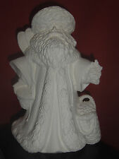 Santa w / Snowshoes Pinecones Baskets - Christmas Ceramic Bisque Ready to Paint