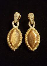 Sterling/18K JUDITH RIPKA Marquise SUNSTONE & CZ Dangle Earrings, OMEGA BACKS