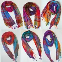 Women Rainbow Scarves Border Pashmina Long Cozy Shawl Silky Wraps Bohemian Scarf