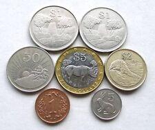 ZIMBABWE LOT X 7: DATES 1980-2002 INC BIMETALLIC 5 DOLLARS BLACK RHINO, EF-ABUNC