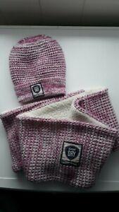 Mütze + Loopschal Set - Superdry - pink/weiß glitzernd - One Size - gefüttert