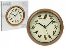 SINGING BIRDS ROUND WALL CLOCK WITH BIRD SONG SOUNDS ON THE HOUR -1ST CLASS POST