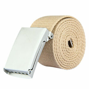 HQ Webbing Belts for Men Girls Ladies with Silver Buckle Plain Fabric