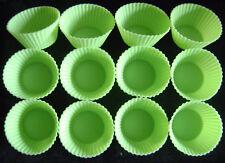 Nuevos 12 Silicona Verde Cupcake Hornear Moldes. Traje Bento