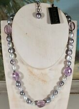 "Honora Pearl Glass Necklace Sterling Silver Clasp Purple Gray 17-19"" Adj. NWT"