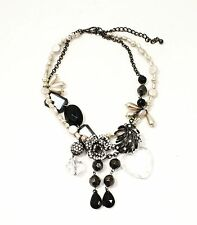 Auth BETSEY JOHNSON STATEMENT CRYSTAL HEART PEARL BLACK 2 STRAND CHOKER NECKLACE
