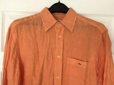 LACOSTE Men's Long Sleeve Button Up LINEN Shirt EU 40 (Medium) Alligator- Orange