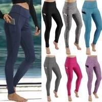 Womens High Waist Yoga Pants Pockets Fitness Gym PUSH UP Leggings Sports Elastic