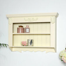 Ornate cream painted wood display shelves vintage country cottage storage shelf