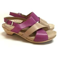 Dansko Lindy Womens 8.5 9 39 Slingback Cross Strap Sandals Purple Khaki Leather
