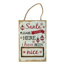 BABBO STOP QUI Naughty NICE Segnale di Legno Novità decorazione di Natale legno