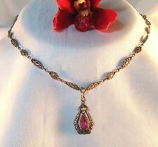 Jugendstil Collier 800 Silber Kette mit Stein Collierkette Halskette / be 890