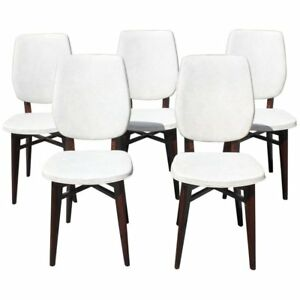 Beautiful Set of Five French Art Deco Solid Mahogany Dining Chairs, circa 1940s